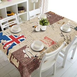 Vintage European Style Union Jack Prints Dining Room Decoration 3D Tablecloth