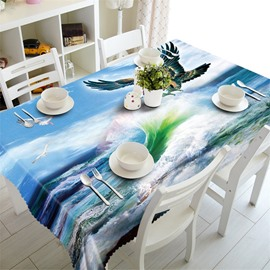 3D Table Cloth Surging Seawater and Eagle Printed Home Hotel Table Cover