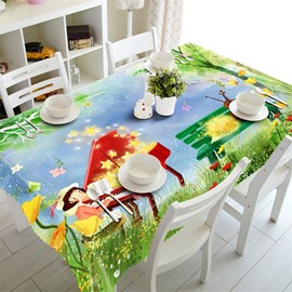 3D Lovely Girl and Piano with Beautiful Flowers Printed Table Cloth