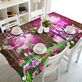 3D Sheep and Angel with Castle Printed Wonderful Scenery Thick Polyester Table Cloth Cover