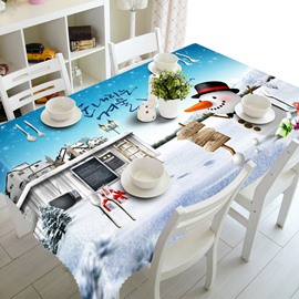 3D Cute Snowman and His Castles Printed Thick Polyester Home Hotel Table Cover