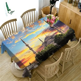 3D Temples and Golden Clouds Printed Thick Polyester Durable Table Cloth Cover