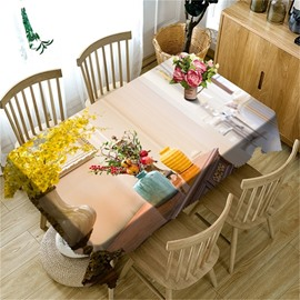 3D Yellow and Blue Vast and Flowers Printed Elegant Home and Hotel Table Cover
