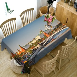 3D Buildings and Bridges Printed Thick Polyester Architectural Style Table Cloth