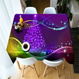 Wonderful and Cool Purple Lines Modern Style Thick Polyester 3D Table Cloth Cover