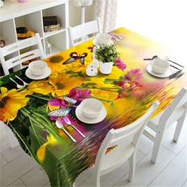 Golden Sunflowers and Butterflies 3D Natural Beauty Home and Party Tablecloth Cover