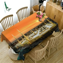 Grand Buildings and Spectacular Sunset View 3D Oil-Proof Home and Party Table Cloth Cover