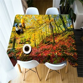 Wonderful Red Leaves and Yellow Trees Autumn Scenery Home and Hotel 3D Table Cloth
