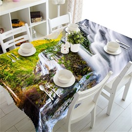 Mountains with Flowing Waterfalls in Thick Forest Home and Hotel 3D Table Cover