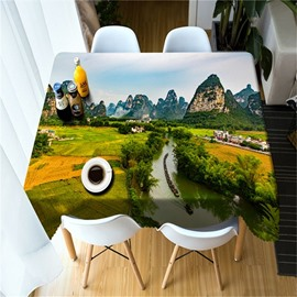 3D River in High Mountains and Fields Printed Home and Outdoors Square Table Cloth