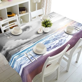 3D Waves Sea and Beach Printed Wonderful Beach Scenery Table Cloth