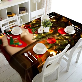 3D Christmas Tree with Beautiful Shining Lamps Printed Home Decorative Table Cover