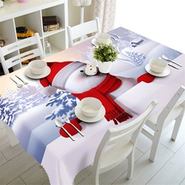 Cute White Snowman and Tree Thick Polyester Beautiful Snow Scenery Table Cloth