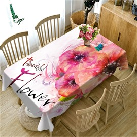 3D Pink Beautiful Flowers Printed Thick Polyester Oil-Proof Table Cloth