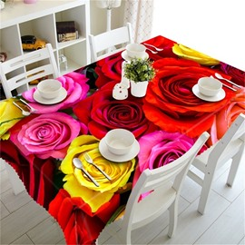 3D Romantic Colorful Rose Sea Printed Thick Polyester Decorative Table Cloth