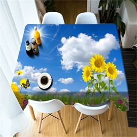 3D Vivid Sunflowers with Blue Sky and White Clouds Printed Table Cloth