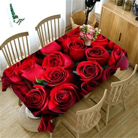 The Sea of Red Roses Printed Romantic and Cozy Style Home and Restaurant Table Cloth