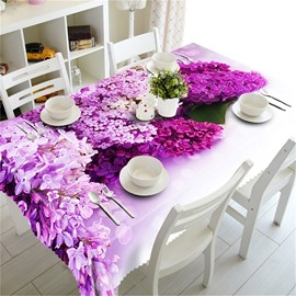 Beautiful Pink and Purple Blossoms Printing Thick Polyester 3D Table Runner Cover Cloth