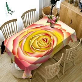 3D Elegant Beige Rose Printed Modern and Pastoral Style Table Cover