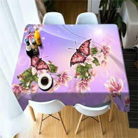 3D Pink Flowers and Beautiful Butterflies Printed Pastoral Style Table Cover