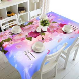 3D Pink Peach Blossoms Printed Romantic and Fresh Style Table Runner Cover Cloth