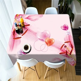 3D Pink Petals and Heart-Shaped Printed Fresh and Modern Table Cover Cloth
