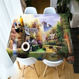 3D Wooden House in High Mountains Printed Dreamy Color Oil-Proof Table Cloth