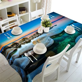 3D Grotesque Stones and Clear Water Printed Table Runner Cover Cloth