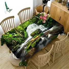 3D Flowing Waterfalls in Thick Polyester Printed Table Runner Cover Cloth