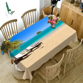 White Beach and Blue Sea with Leisure Benches Printing Decorative and Durable Cover Cloth