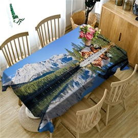 High Mountains and Wooden House with Clean Water Printing Table Cover Cloth