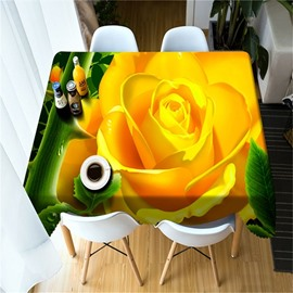 3D Bright Colored Golden Rose Printed Durable and Decorative Table Cover