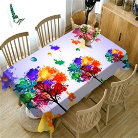 3D Colorful Trees and Balloons Printed Thick Polyester Home Decorative Dinning Table Cloth