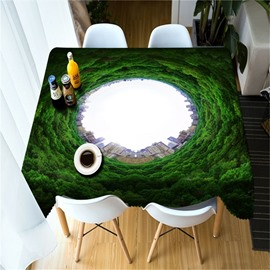 Creative and Vivid Thick Green Hole Printing 3D Table Cloth Cover