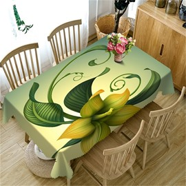 Vivid Green Flowers Pastoral Style Thick Polyester 3D Table Cloth
