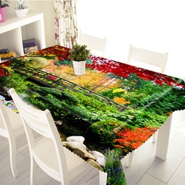3D Colorful Forest and Bridge Printed Thick Polyester Table Cover Cloth