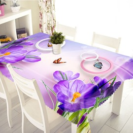3D Blooming Purple Flowers and Butterfly Printed Thick Polyester Table Cover Cloth