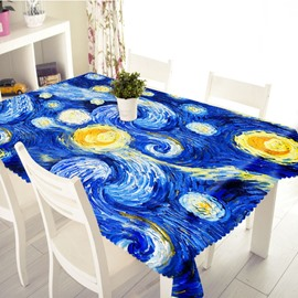 3D Blue Oil Painting Printed Thick Polyester Table Cover Cloth