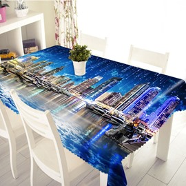 3D Galaxy and City View Printed Thick Polyester Table Cover Cloth