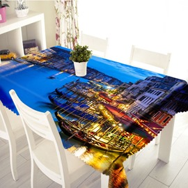 3D City Night Scene Printed Thick Polyester Table Cover Cloth