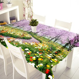3D Romantic Flowers Path Printed Thick Polyester Table Cover Cloth