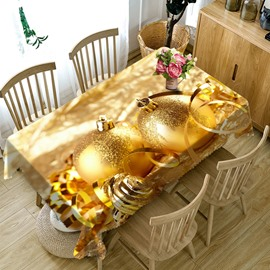 3D Golden Spherical Metal Printed Thick Polyester Table Cover Cloth