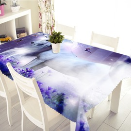3D White Horse with a Flying Man Printed Thick Polyester Table Cover Cloth