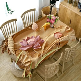 3D Delicate Woodcarving Lotus Printed Thick Polyester Table Cover Cloth