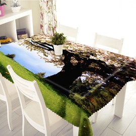 3D Romantic Flowering Cherry Printed Thick Polyester Table Cover Cloth