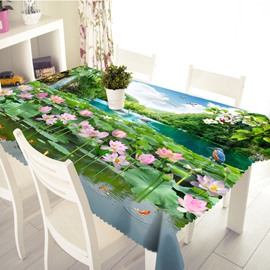 3D Gorgeous Modern Design Lotus Flower Prints Washable Tablecloth