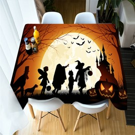 3D Pumpkin and Witch Celebrate Halloween Printing Polyester Table Cover Cloth
