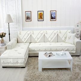 White Elegant Home Decorative Flower Print Cushion Slip Resistant Sofa Covers