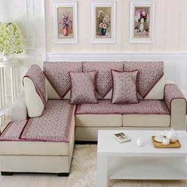 Wine Red Fashion High Grade Quilting Flower Print Cushion Four Seasons Sofa Covers