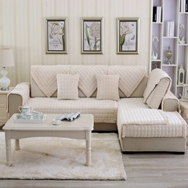 Beige Comfortable Thicken Flannel Four Seasons Square Block Design Slip Resistant Sofa Covers